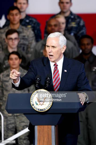 US President Mike Pence addresses at the US Yokota Air Base on February 8 2018 in Fussa Tokyo Japan Pence is in Japan ahead of attending the opening...