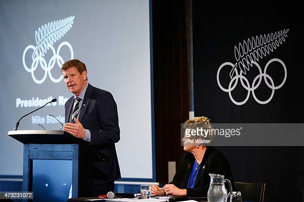 President Mike Stanley speaks during the New Zealand Olympic Committee Annual General Meeting at Eden Park on May 14 2015 in Auckland New Zealand