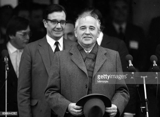 President Mikhail Gorbachev arrives at RAF base Brize Norton for State Visit to UK December 1987