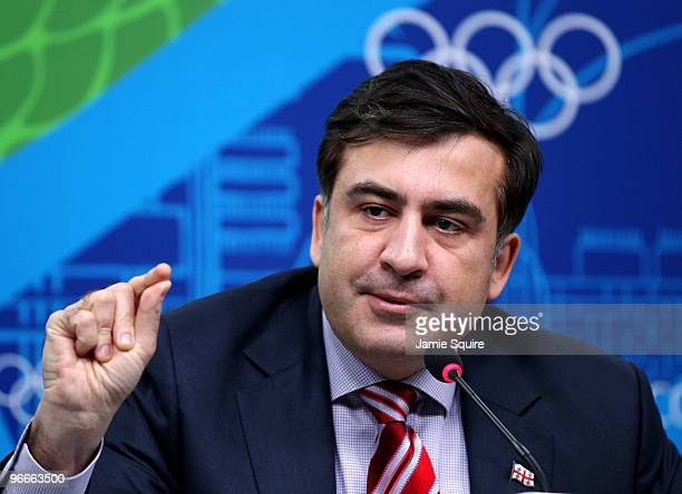 President Mikheil Saakashvili of Georgia speaks during a press conference at the MPC on day 2 of the Vancouver 2010 Winter Olympics on February 13...