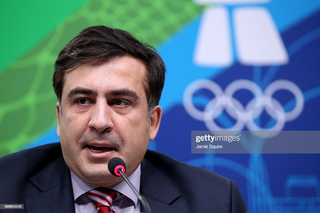 President Mikheil Saakashvili of Georgia speaks during a press conference at the MPC on day two of the Vancouver 2010 Winter Olympics on February 13, 2010 in Vancouver, Canada. Saakashvili spoke about the recent death of fellow countrymen Nodar Kumaritashvili who was killed after crashing during a luge training run on February 12th at the Whistler Sliding Center.