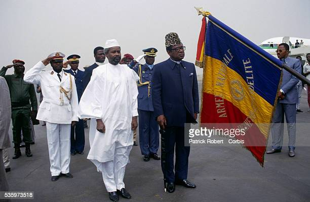 President Mobutu Sese Seko of Zaire, later the Republic of Congo, visits Chadian head of state Hissen Habre . Habre seized control of Chad in 1982,...