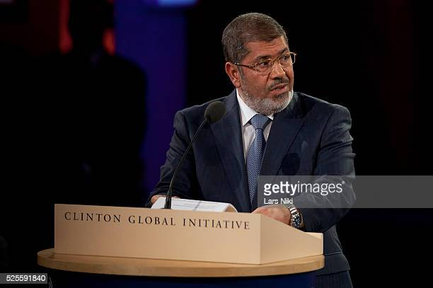 """President Mohamed Morsi, Arab Republic of Egypt speaking at the """"Closing Plenary Session"""" during the 2012 Clinton Global Initiative Annual Meeting at..."""