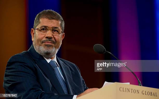 President Mohamed Morsi of Egypt speaks during the 2012 Clinton Global Initiative annual meeting September 25, 2012 in New York. AFP PHOTO STEPHEN...
