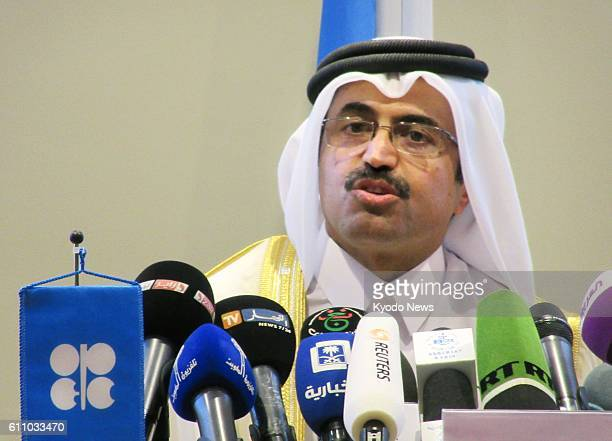 President Mohammed Bin Saleh AlSada Qatar's energy and industry minister speaks at a press conference after an informal meeting in Algiers on Sept 28...