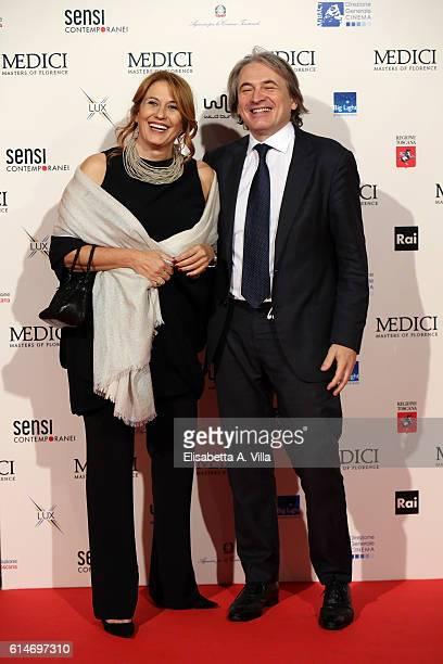 President Monica Maggioni and Managing Director Antonio Campo Dall'Orto walk a red carpet for 'I Medici' at Palazzo Vecchio on October 14 2016 in...