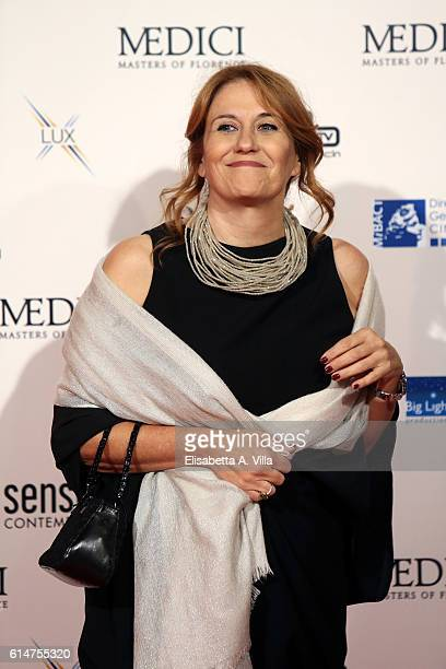 President Monica Maggioni walks a red carpet for 'I Medici' at Palazzo Vecchio on October 14 2016 in Florence Italy