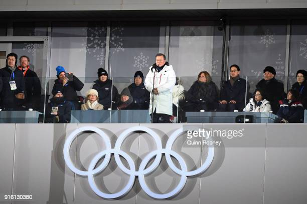 President Moon Jaiin of South Korea speaks during the Opening Ceremony of the PyeongChang 2018 Winter Olympic Games at PyeongChang Olympic Stadium on...