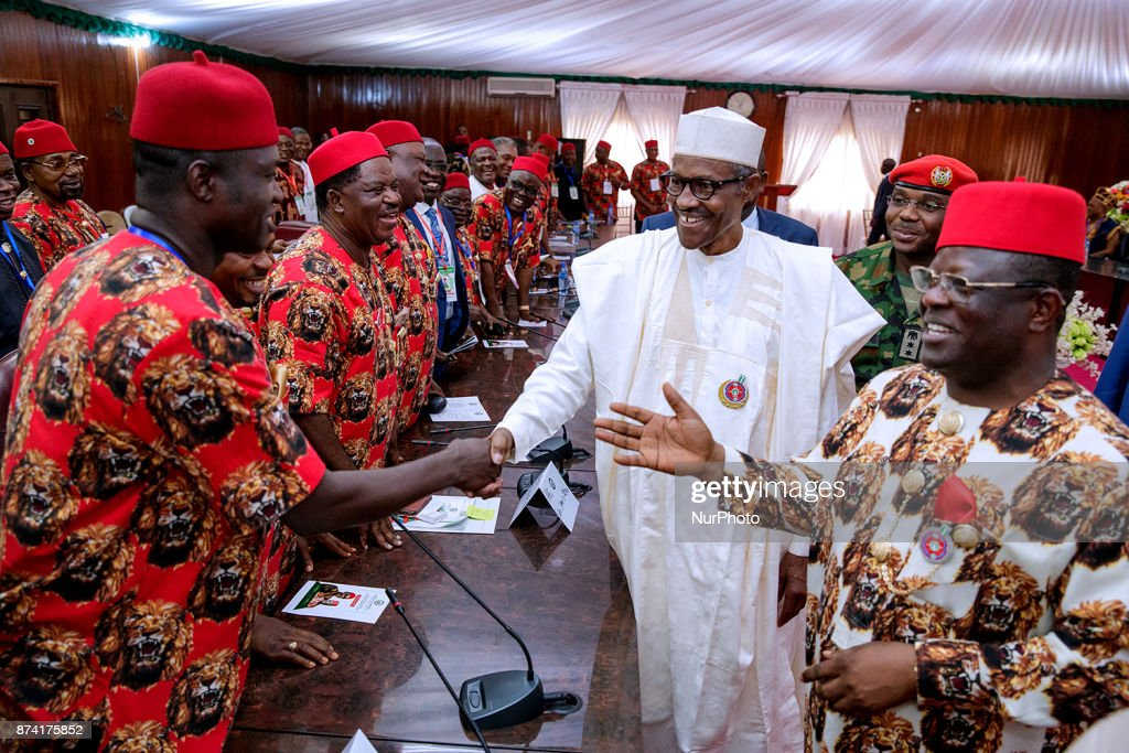 President Muhammad Buhari visits Ebonyi State to commission projects and was also presented with chieftaincy title during the tour in Abakaliki, Ebonyi State, Nigeria14th November 2017.