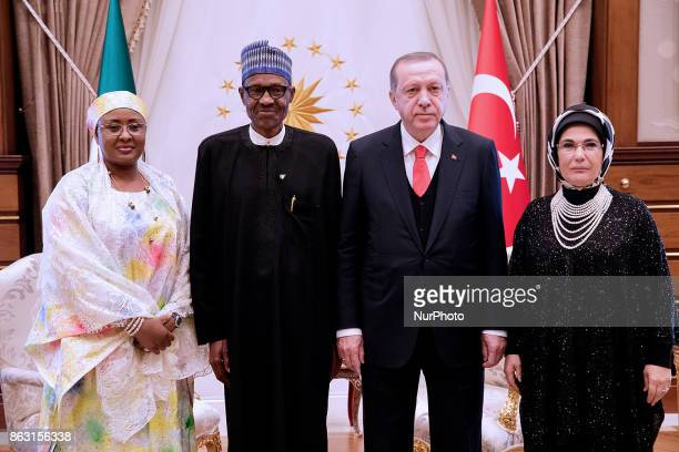 President Muhammadu Buhari his wife Mrs AIsha Buhari joins President Recep Tayyip Erdogan of Turkey and his wife Mrs Ermine Erdogan in a group photo...