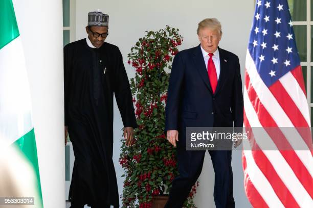 President Muhammadu Buhari of the Federal Republic of Nigeria and US President Donald Trump head to their joint press conference in the Rose Garden...