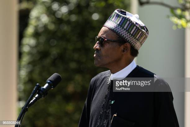 President Muhammadu Buhari of the Federal Republic of Nigeria at his joint press conference with US President Donald Trump in the Rose Garden of the...
