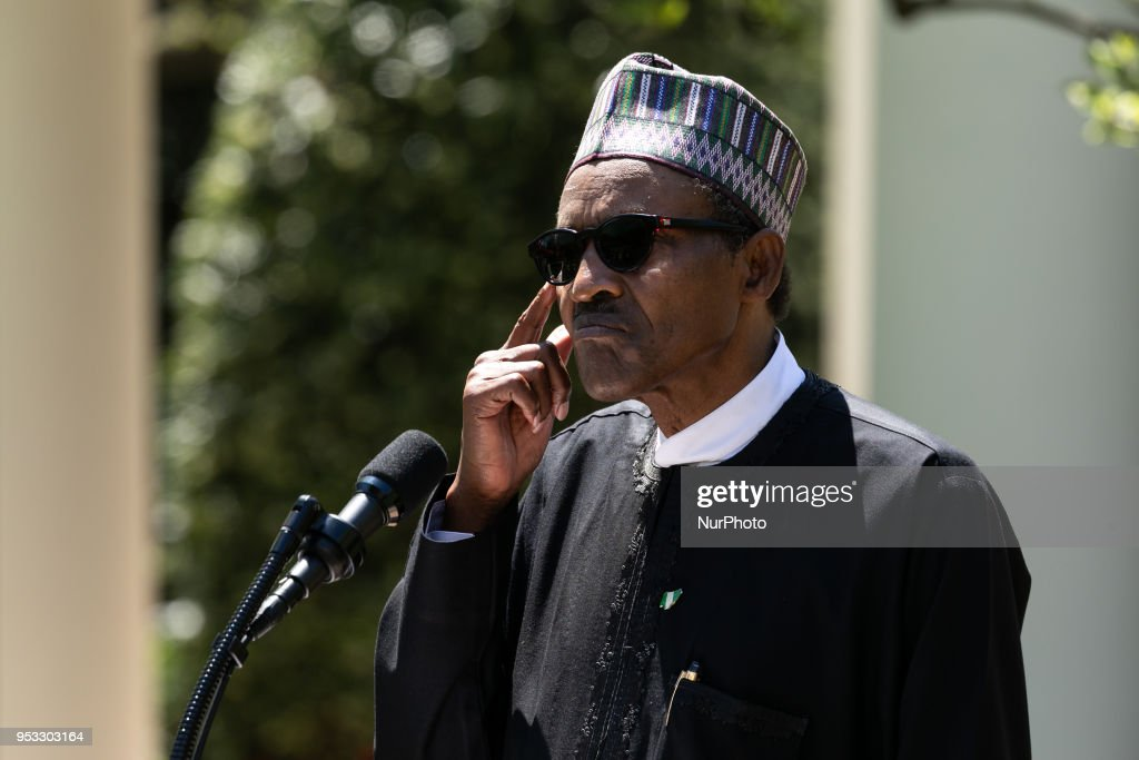 Trump And Nigerian President Buhari Hold Joint Press Conference In Rose Garden : News Photo