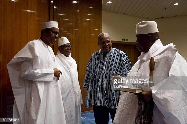 President Muhammadu Buhari with President of Mali HE Ibrahim Boubacar Keita President of Ghana HE John Dramani Mahama and President of Gambia HE...