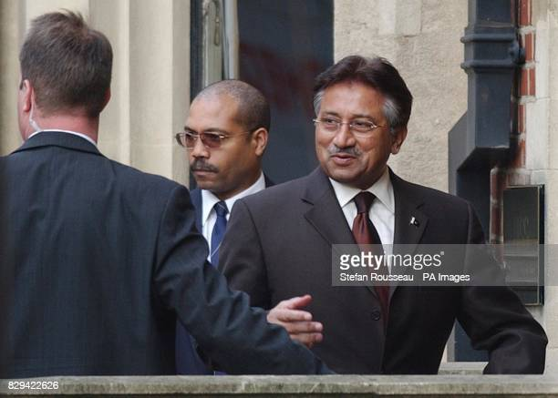 President Musharraf of Pakistan arrives at the Institute for Strategic Studies in London amid tight security after details of his movements in the...