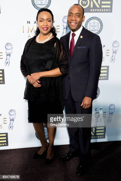 President NAACP Cornell William Brooks and his wife Janice Brooks attend the 48th NAACP Image Awards NonTelevised Awards Dinner at the Pasadena...