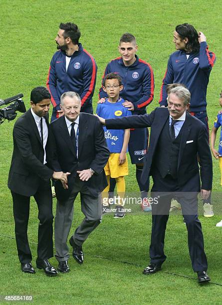 President Nasser AlKhelaifi JeanMichel Aulas and Frederic Thiriez attend the French Finale League Cup between Paris SaintGermain FC and Olympique...