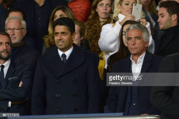 President Nasser AlKhelaifi of Paris SaintGermain and president Jean Pierre Rivere of OGC Nice during the Ligue 1 match between Paris Saint Germain...