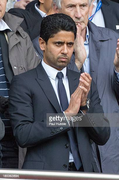 President Nasser AlKhelaifi of Paris SaintGermain attends the Paris Saint Germain FC vs SC Bastia at Parc des Princes on October 19 2013 in Paris...