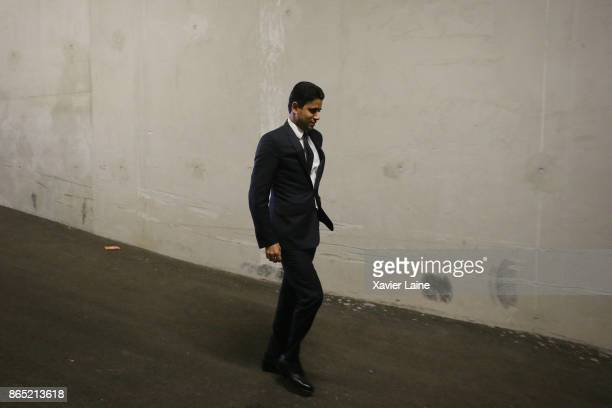President Nasser AlKhelaifi of Paris SaintGermain before the Ligue 1 match between Olympique Marseille and Paris Saint Germain at Orange Velodrome on...