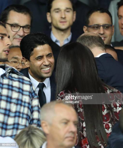 President Nasser AlKhelaifi of PSG and Naomi Campbell attend the UEFA Champions League group B match between Paris SaintGermain and Bayern Muenchen...