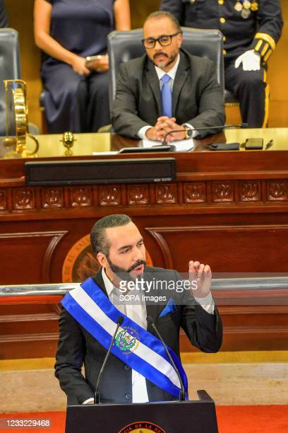 President Nayib Bukele delivers his speech during the session. Salvadoran President Nayib Bukele addressed the Congress as his second year in office...