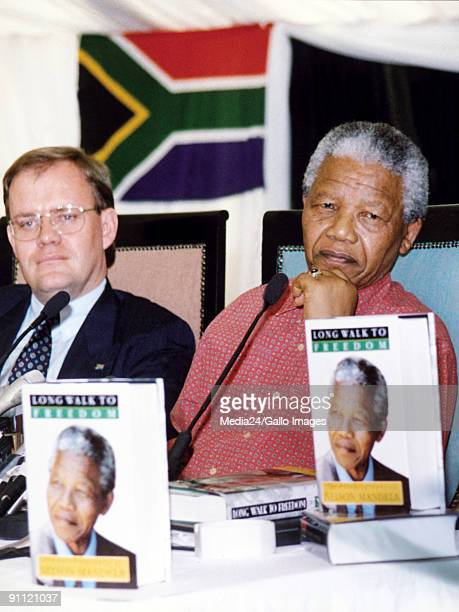 President Nelson Mandela at the releasing of his autobiography Long walk to freedom accompanied by Mr Carl Niehaus Head of Information at the ANC in...