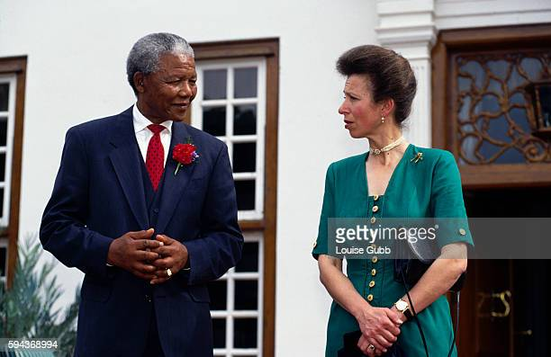 President Nelson Mandela talking with Princess Anne Former President of South Africa and longtime political prisoner Nelson Mandela was held by the...