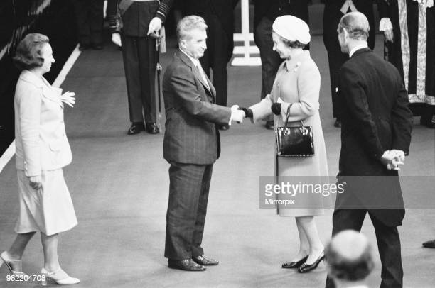 President Nicolae Ceausescu of Romania accompanied by Madame Elena Ceausescu is welcomed at Victoria Station by Queen Elizabeth June 13th 1978