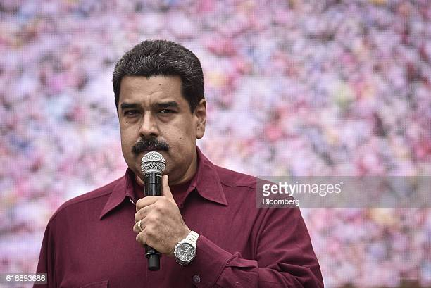 President Nicolas Maduro addresses supporters during a rally in Caracas Venezuela on Friday Oct 28 2016 After rallying tens of thousands to the...