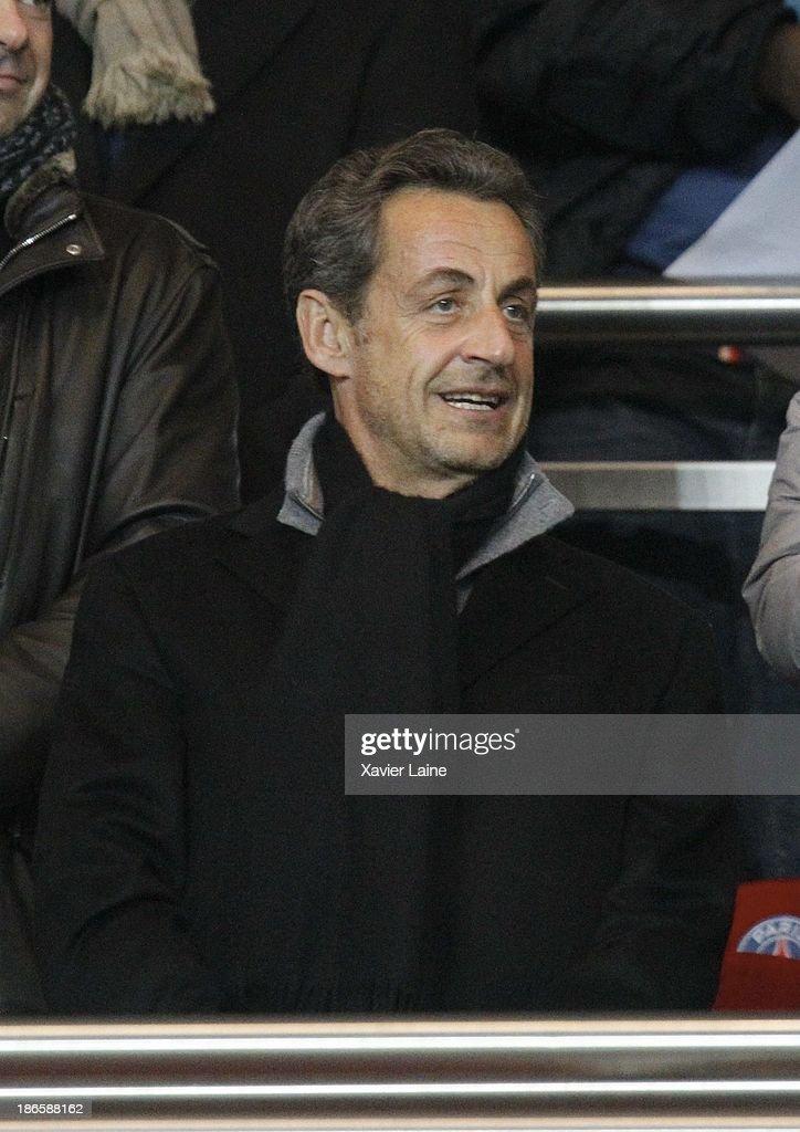 President Nicolas Sarkozy attends the French League 1 between Paris Saint-Germain FC and Lorient FC, at Parc des Princes on November 1, 2013 in Paris, France.