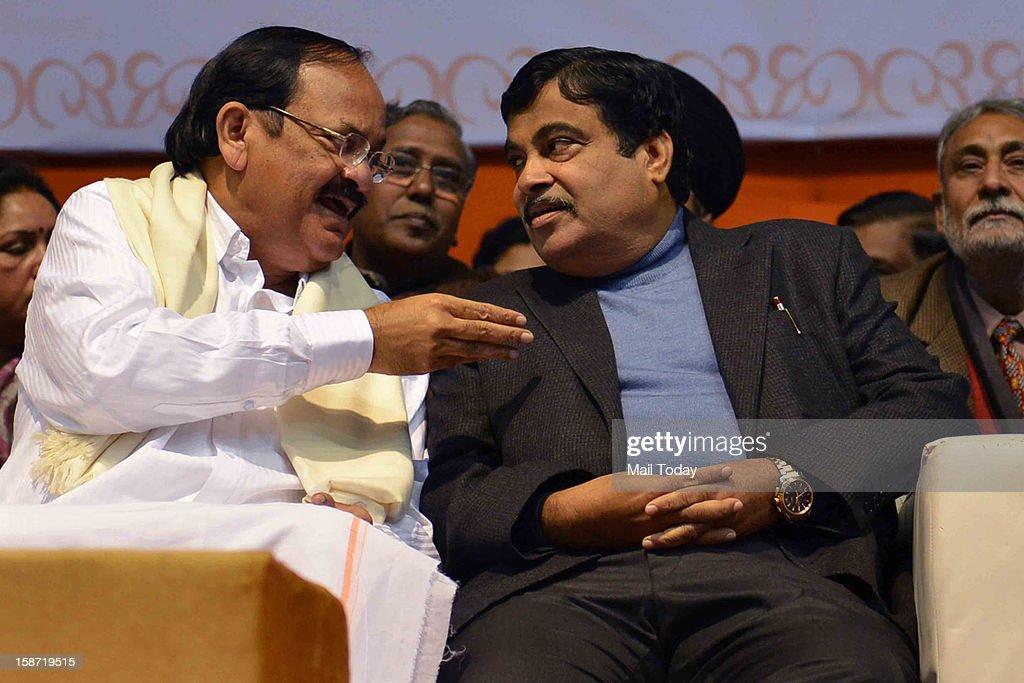 BJP President Nitin Gadkari and senior leader Venkaiah Naidu at a function observing the party veteran Atal Bihari Vajpayee birthday as Sushasan Diwas in New Delhi on Tuesday.