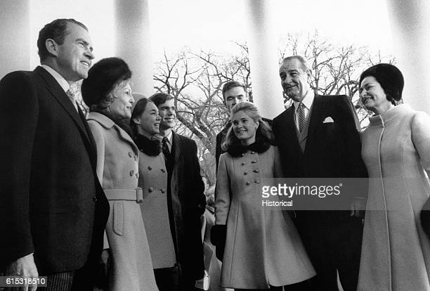 President Nixon and his family with Lyndon Baines Johnson and Lady Bird Johnson. From left to right are Richard Nixon, Pat Nixon, Patricia Nixon Cox,...