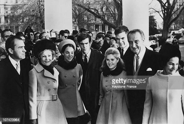 President Nixon And His Wife, M And Mrs Eisenhower At The Investiture At White House In Usa On January 22Nd 1969