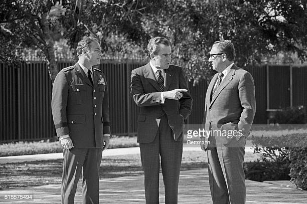 President Nixon chats with General Haig and National Security Advisor Kissinger during a photo shoot in Florida General Haig was later scheduled to...