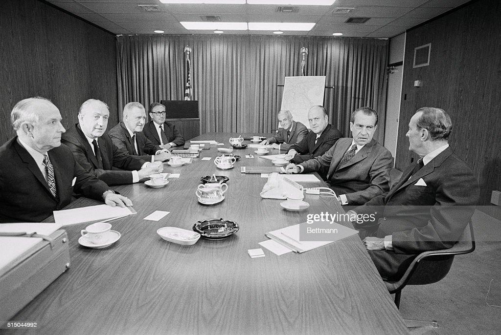 Richard Nixon Receiving Briefing on Southeast Asia : News Photo