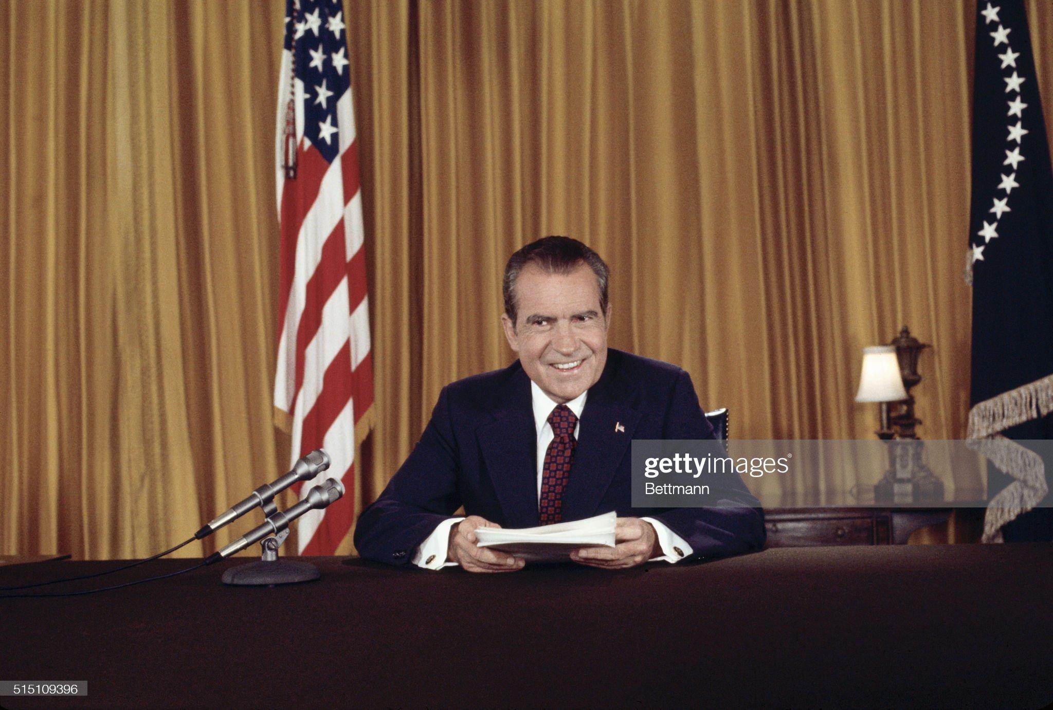 President Richard Nixon after Addressing Nation on Watergate : News Photo