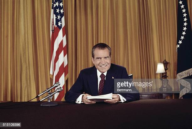 President Nixon in a nationally televised address 8/15 asks for support against 'those who would exploit Watergate in order to keep us from doing...