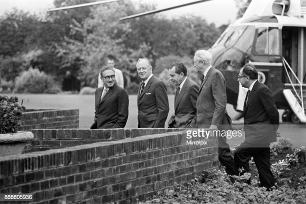 President Nixon in Ireland Vietnam Peace Conference Left to right Henry Kissinger United States Secretary of State William P Rogers President of the...