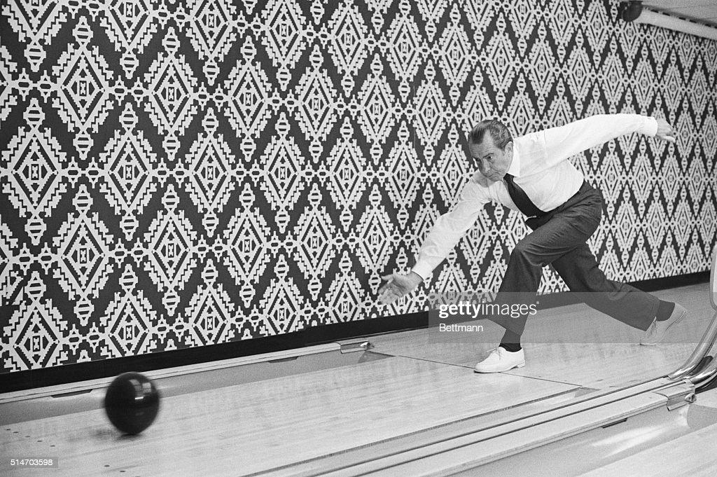 President Nixon Bowling in White House Lanes : News Photo