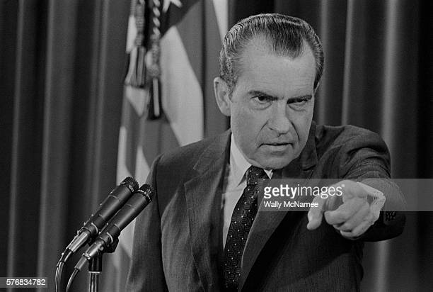 President Nixon Pointing During Press Conference