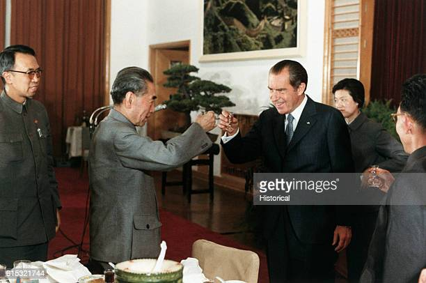 President Nixon toasts Chinese Prime Minister and Foreign Minister Zhou Enlai during a banquet in Hangzhou China