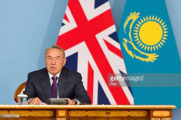 President Nursultan Nazarbayev makes a speech after signing a strategic partnership agreement with British Prime Minister David Cameron at the...