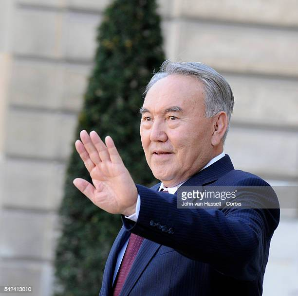 President Nursultan Nazarbayev of Kazakhstan on official visit to France meets with President Nicolas Sarkozy at the Elysee Palace