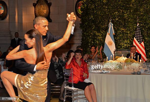 President Obama dances tango with a dancer during the official state dinner at the Centro Cultural Kirchner in Buenos Aires Argentina on March 23 2016