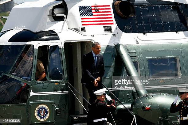 President Obama decends from Marine One. U.S. President Barack Obama departs from the Villamor Airbase in Pasay city after attending the two day APEC...