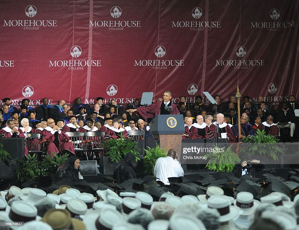 President Obama delivers remarks during Morehouse College 2013 commencement at Morehouse College on May 19, 2013 in Atlanta, Georgia.