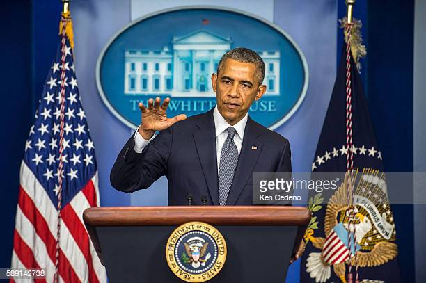 President Obama delivers remarks on Malaysia Airlines flight MH17 crash over eastern Ukraine in the Brady Press Briefing Room of the White House...