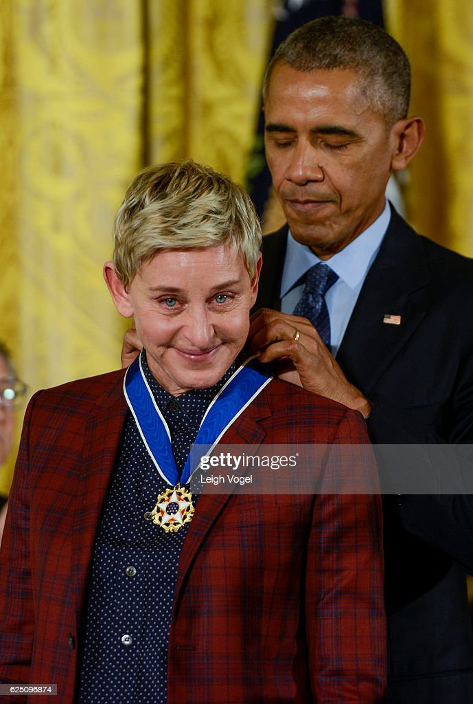 President Obama presents Ellen DeGeneres with the 2016 Presidential Medal Of Freedom at the White House on November 22, 2016 in Washington, DC.