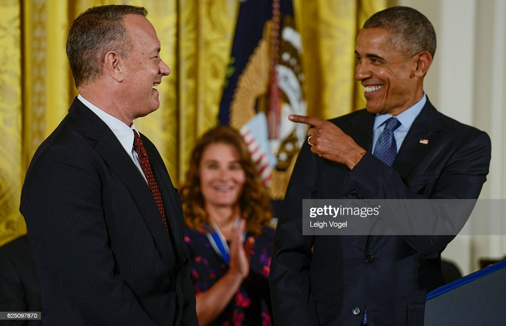 President Obama presents Tom Hanks with the 2016 Presidential Medal Of Freedom at the White House on November 22, 2016 in Washington, DC.